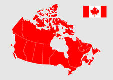 Vector kaart van Canada Stock Fotografie