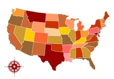 Vectorkaart van de V.S. Stock Fotografie