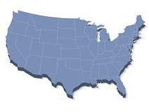 Vector kaart van de Verenigde Staten van Amerika Stock Fotografie