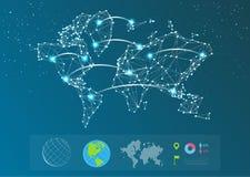 Vector kaart van de wereld Stock Fotografie