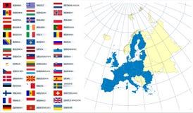 Vector kaart van Europese Unie met vlaggen Stock Foto's