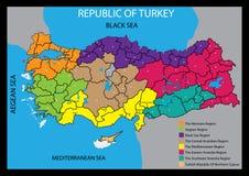 Vector kaart van het land van Turkije Royalty-vrije Stock Foto's