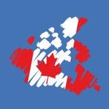 Vector kaart-vlag Canada Stock Afbeelding
