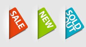 Vector kaarten voor nieuw, verkoop en uitgever*kopte punten Stock Afbeeldingen