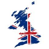 Vector kaartvlag van het UK Stock Afbeeldingen