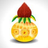 Vector Kalash With Mango Leaf Stock Image