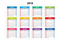 Vector Kalender 2019, Woche abfährt von Sonntag, Geschäftsschablone Lizenzfreie Stockfotos
