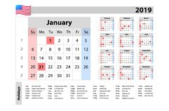 Vector Kalender 2019, Woche abfährt von Sonntag, Geschäftsschablone Stockfoto