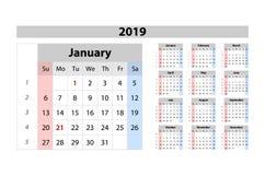 Vector Kalender 2019, Woche abfährt von Sonntag, Geschäftsschablone Stockfotografie