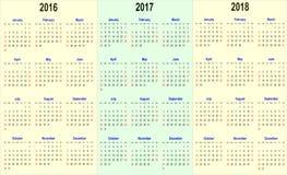 Vector Kalenderschablone - 2016, 2017, 2018 Lizenzfreies Stockfoto