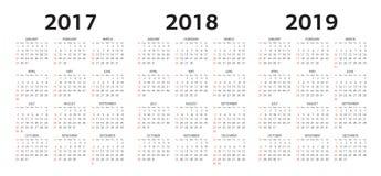 Vector Kalenderschablonen 2017, 2018, 2019 Lizenzfreie Stockbilder
