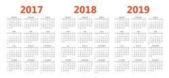Vector Kalenderschablonen 2017, 2018, 2019 Lizenzfreie Stockfotografie