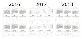 Vector Kalenderschablonen 2016, 2017, 2018 Lizenzfreies Stockfoto