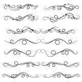 Vector kalligrafische illustratiereeks van grens en verdelers decoratieve, kalligrafische werveling stock foto's
