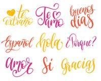 Vector kalligrafische reeks van Spaanse vertaling van Thank u, Goede Dag enz. Gemeenschappelijke woordenhand het van letters voor Stock Fotografie