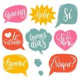 Vector kalligrafische reeks van Spaanse vertaling van Thank u, Goede Dag enz. Het gemeenschappelijke woordenhand van letters voor Royalty-vrije Stock Foto's