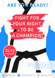 Vector karate competition flyer template. With slogan Fight For Your Right To Be A Champion. Sport event martial arts, fight, wrestling advertising illustration Stock Images