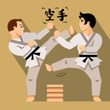 Vector Karate Fight. Flat style colorful Cartoon illustration. Combat two karatekas. Isolated on a color Background Royalty Free Stock Photos