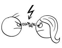 Vector Karikatur des Mannes und der Frau im Kampf-Ärger mit Blitz BO Lizenzfreie Stockfotos
