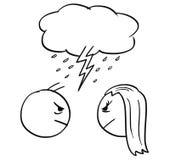 Vector Karikatur des Mannes und der Frau im Kampf-Ärger mit Sturm-Wolke Stockfotografie
