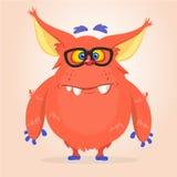 Vector Karikatur eines roten fetten und flaumigen Halloween-Monsters mit den großen Ohren, die Gläser tragen lizenzfreie abbildung