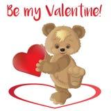 Vector Karikaturartillustration des Valentinsgruß ` s Tagesromantischen Gutscheins mit nettem Teddybären stock abbildung
