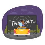 Vector Karikaturartillustration von den liebevollen Paaren, die auf dem Auto sitzen stock abbildung