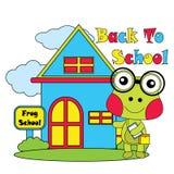 Vector Karikaturillustration des netten Frosches zurück zu Schule Stockfotografie