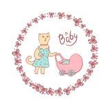 Vector Karikaturillustration einer Skizze in den Pastellfarben Mutterkatze, die mit einem Kinderwagen geht Runder Rahmen mit Böge Stockbild