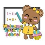 Vector Karikaturillustration mit nettem kleinem Bärnmädchen vor dem weißen Brett, das für Kindert-shirt Grafikdesign passend ist lizenzfreie abbildung