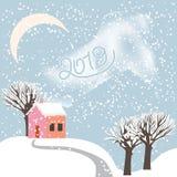 Vector Karikaturzeichnung einer schneebedeckten Landschaft des Winters mit einem kleinen stockbild