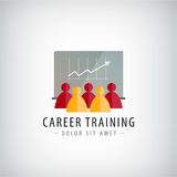 Vector Karrieretraining, Geschäftstreffen, Teamwork-Logo, Illustration Stockfotos