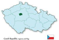 Vector Karte der Tschechischen Republik und aller Regionen Stockfotos
