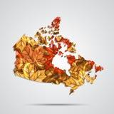 Vector Karte des Kanadas mit einem Hintergrund von Herbstahornblättern Auch im corel abgehobenen Betrag Lizenzfreie Stockfotos