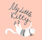 Vector Karte mit netter weißer Katze und stilvoller Beschriftung 'meine kleine Miezekatze' Stockfoto