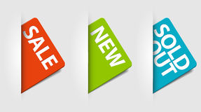 Vector Karten für neues, Verkauf und ausverkaufte Felder Stockbilder