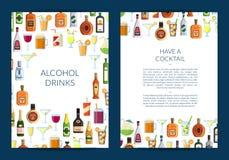 Vector Karten- oder Broschürenschablone für Bar mit alkoholischen Getränken in den Gläsern und in den Flaschen stock abbildung