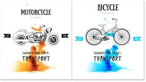 Vector Kartendesign mit Fahrrad, Motorradlogo Lizenzfreies Stockfoto