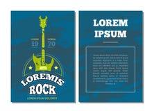 Vector Kartenflieger mit Retro- Rockmusik, Tonrekordstudio-Clublogo, Ausweis mit Gitarre Lizenzfreie Stockbilder
