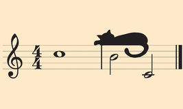 Vector katten en muziek royalty-vrije illustratie