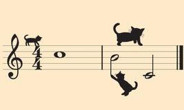Vector katten en muziek Royalty-vrije Stock Afbeeldingen