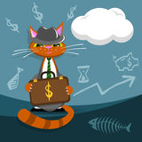 Vector Katzengeschäftsmann mit dem Aktenkoffer, der ein Abkommen macht vektor abbildung