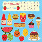 Vector kawaii food set Royalty Free Stock Photo