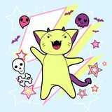 Vector kawaii illustration Halloween cat and Royalty Free Stock Photo