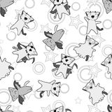 Vector kawaii pattern of Halloween cats and. Creatures Royalty Free Stock Image