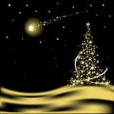 Vector Kerstboom met dalende ster Stock Afbeeldingen