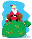Vector Kerstman en grote zak. Nieuwjaar Stock Illustratie