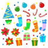 Vector Kerstmispictogrammen Stock Fotografie