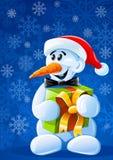 Vector Kerstmissneeuwman met gift Royalty-vrije Stock Afbeeldingen