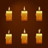 Vector Kerze mit Feueranimation auf transparentem Hintergrund Lebhafte Effektillustration der Flamme Stockfotos